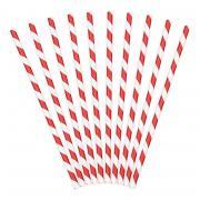 10 Strohhalme aus Papier in Rot