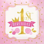 16 Servietten 1st Birthday Pink&Gold 33cm