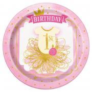 8 Pappteller 1st Birthday Pink&Gold 23cm