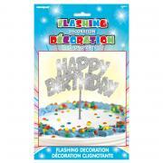 LED-Tortendeko Happy Birthday Silber