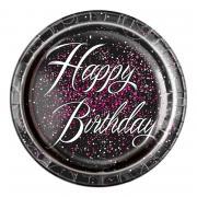 8 Pappteller Birthday-Glitz ø23cm
