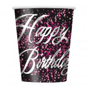 Pappbecher Birthday Glitz pink 266ml 8 Stück