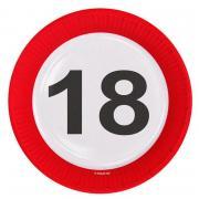 Pappteller Verkehrsschild Zahl #18 ø23cm 8 Stück
