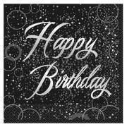 16 Servietten Glitzer Happy Birthday 33cm