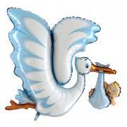 XL-Folienballon Klapperstorch mit Baby in Blau