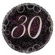 Folienballon Glitzer rund #30 pink 45cmØ