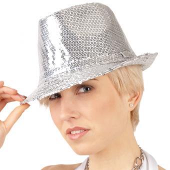 Paillettenhut Glitzer-Star Silber
