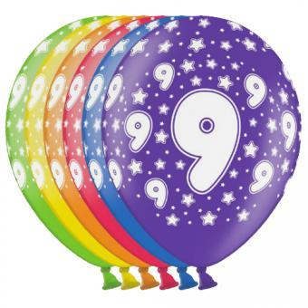 6 bunte Latexballons Zahl 9 ø30cm