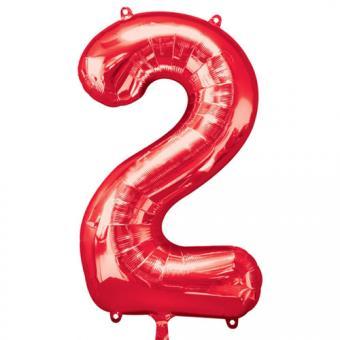 Ballon Riesenzahl Zwei - 2 rot  50cm x 88cm