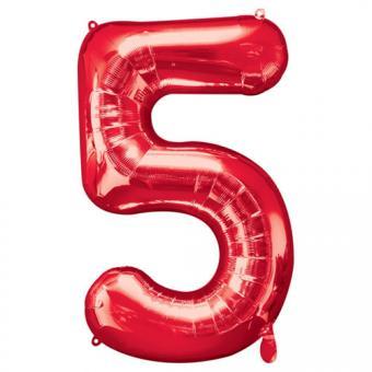 Ballon Riesenzahl Fünf - 5 rot  58cm x 86cm