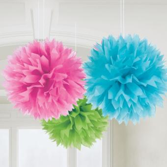 3 Pompoms Flower Multicolor ø40cm