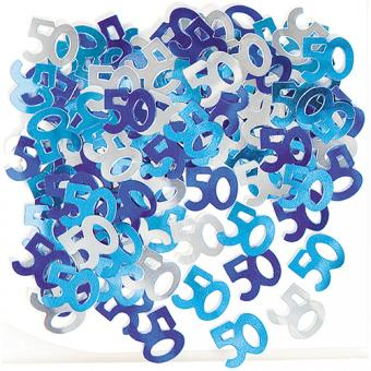 Konfetti Glitz Metallic Blau Zahl 50 14g