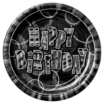 8 Pappteller Birthday Glitz Schwarz ø23cm