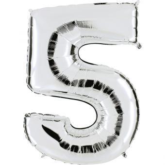 Ballon Riesenzahl Fünf 5 Silber