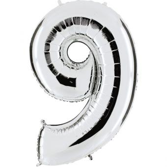 Ballon Riesenzahl Neun 9 Silber