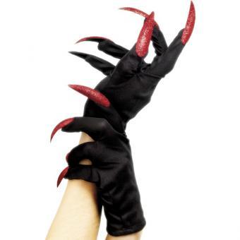 Handschuhe Halloween-Nägel rot