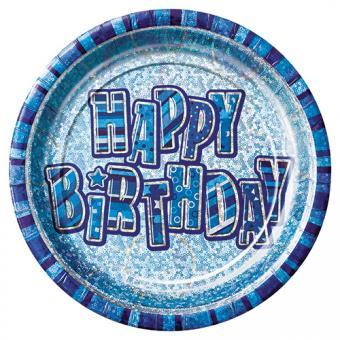 8 Pappteller Birthday Glitz Blau ø23cm