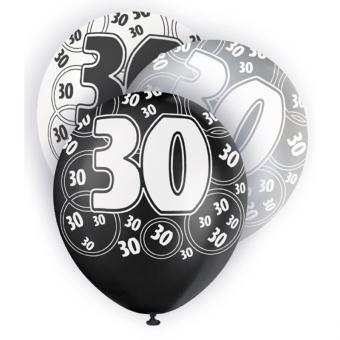 Latexballons Zahl 30 ø30cm schwarz 6 Stück