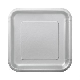16 Pappteller Square Silber 18cm