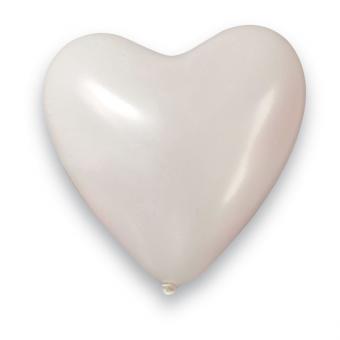 10 Herzballons Weiss ø35cm