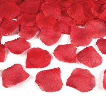 100 Rosenblätter aus Stoff Rot