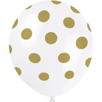 6 Latexballons Dots Gold ø30cm