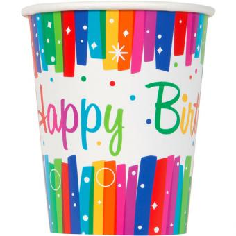8 Pappbecher Rainbow Ribbon Birthday 266ml