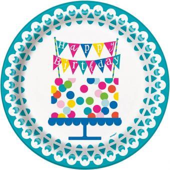 8 Pappteller Lovely Confetti ø23cm