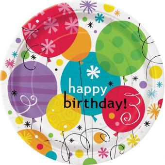8 Pappteller Breezy Birthday Balloons ø23cm