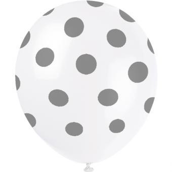 6 Latexballons Dots Silber ø30cm