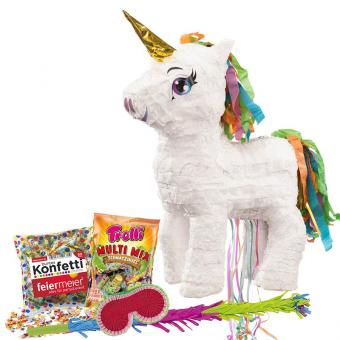 Pinata-Set Einhorn Gold