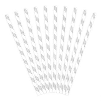 10 Strohhalme aus Papier in Silber-Metallic