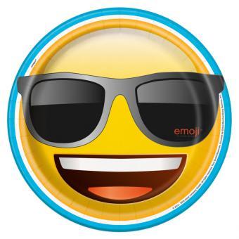 8 Pappteller Emoji Cool 23cm
