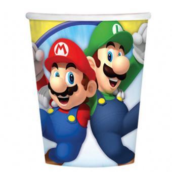 8 Pappbecher Super Mario 266ml