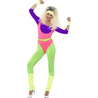 Aerobic Damenkostüm Neon Girl 80er Jahre M